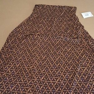 LuLaRoe Maxi Skirt NEW With Tags Brown and Gold